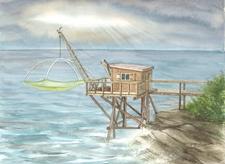 Pêcherie-Carrelet devant rocher