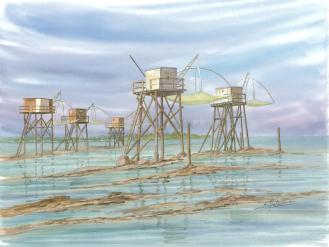 Groupe de pêcheries à Tharon
