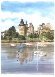 Château en automne, voilier bleu (vertical)