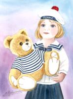 """l'ours et la poupée """"marins"""" (Made in PORNIC)"""