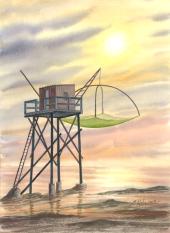 Pêcherie pointant le SOLEIL
